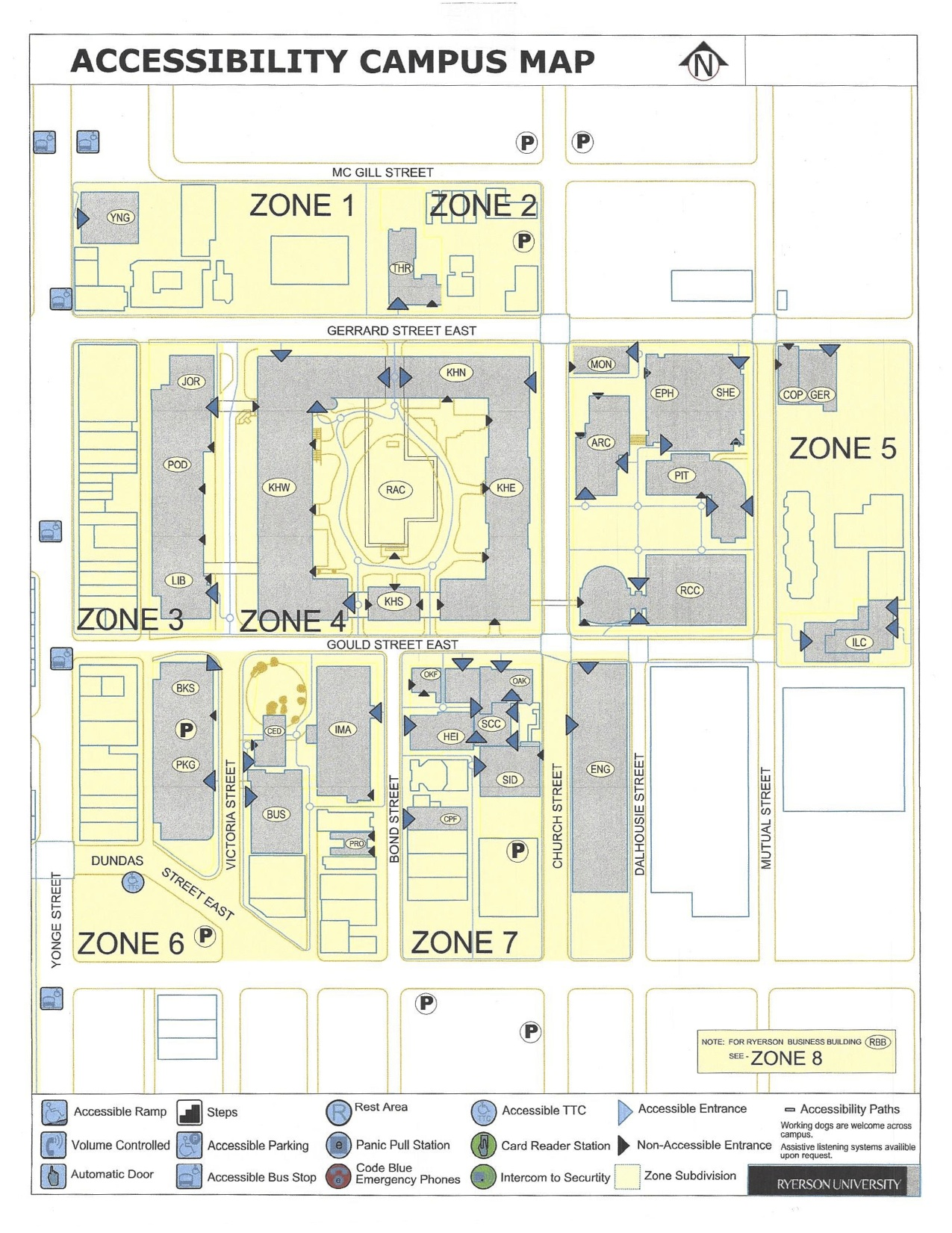 Accessibility map for Ryerson campus