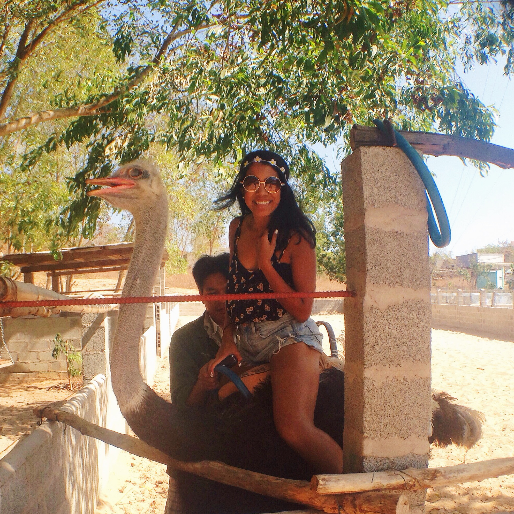 Photo of Jasmin riding an ostrich