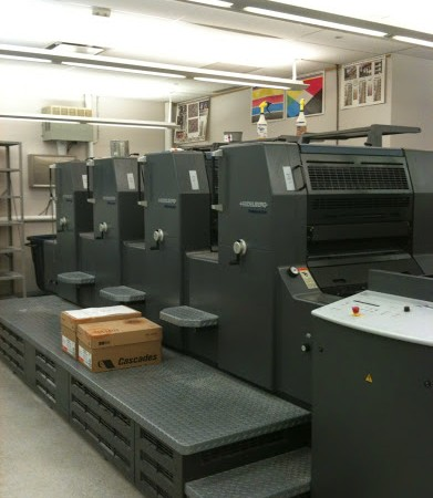 When I say the printing industry, I'm not talking about small printers, I'm taking about big presses, like this one which is in the basement of CCM's building.