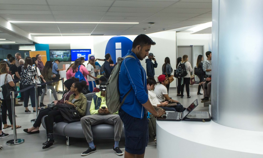 Photo of student on laptop at the service hub