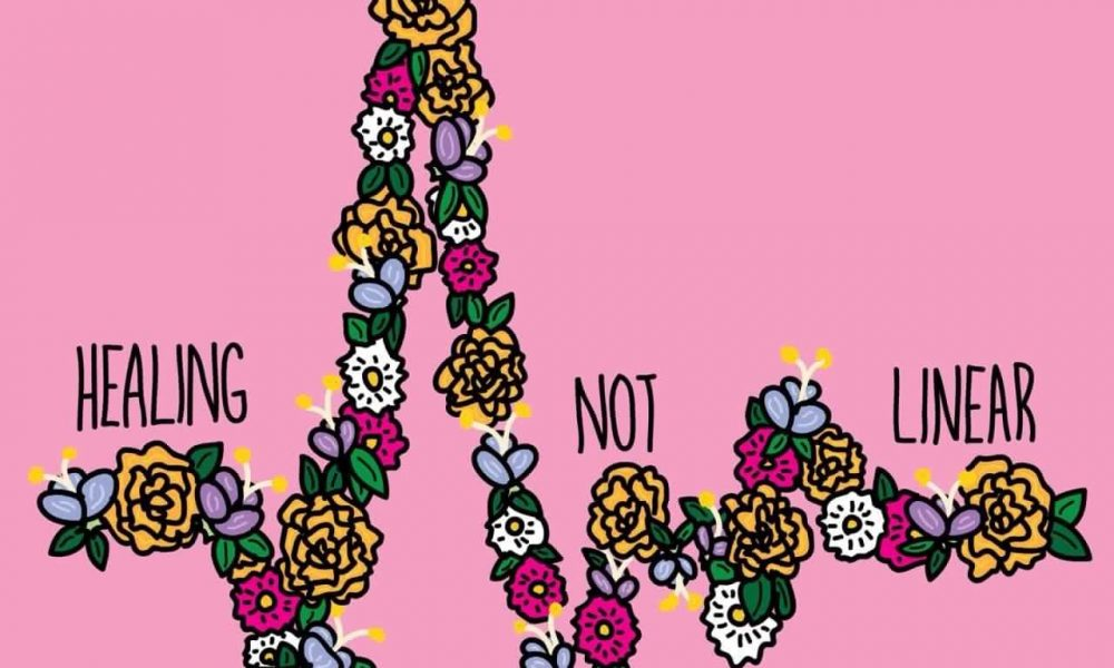"""A drawing of a jagged line of flowers that says """"Healing is not linear"""""""