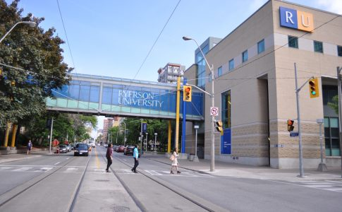 Students crossing at an intersection on the Ryerson campus.