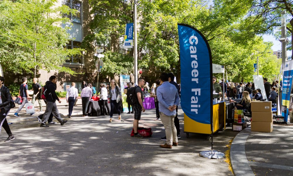 Gould street busy with students during the career fair