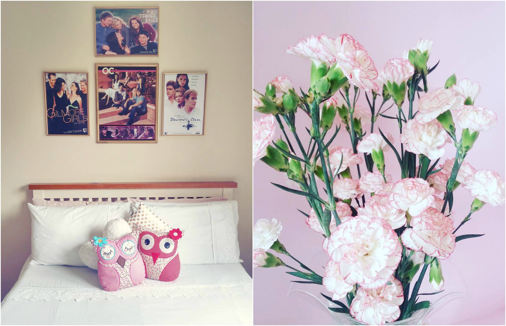 A photo of sunita's bedroom: Posters from One Tree Hill, Gilmore Girls, The OC, and Dawson's Creek on the wall, white duvet, and owl pillows. And a large bouquet of flowers.