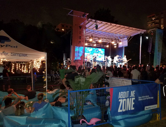 The PayPal zone and the concert in Kerr Quad during O-Week