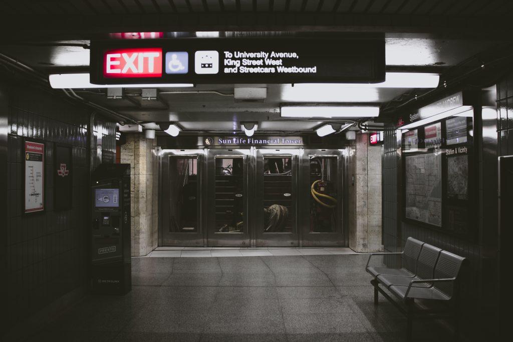 A dark subway station