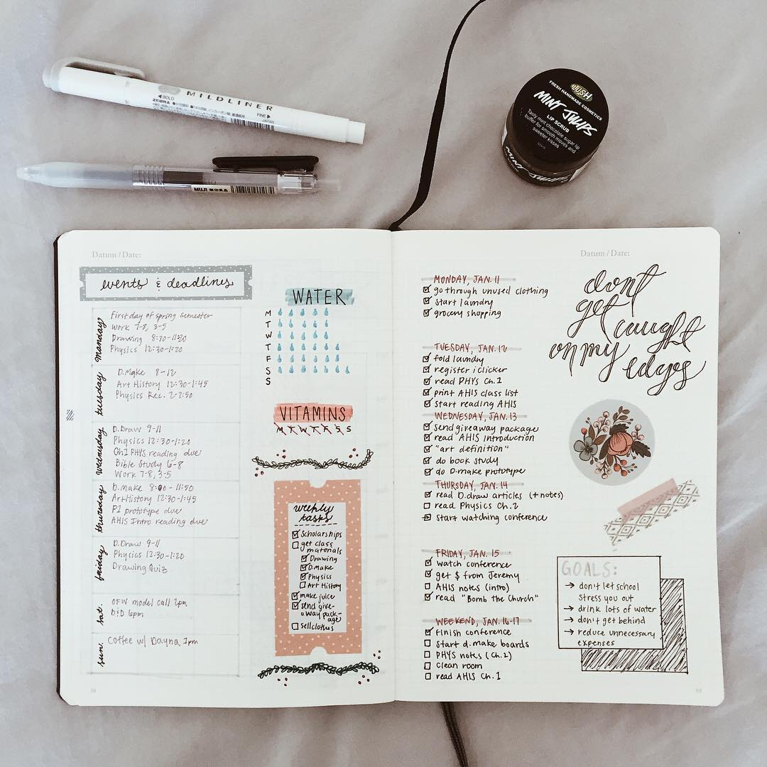 a journal with a handwritten calendar, to do list and doodles