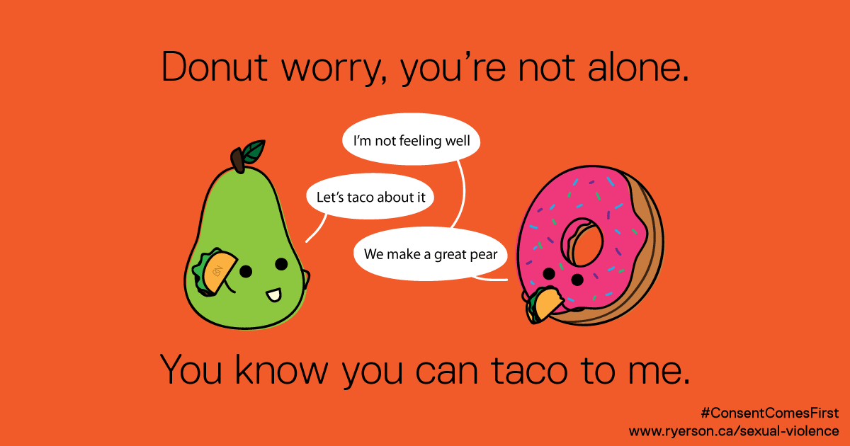 "A pear and a donut speak to each other and the caption says ""Donut worry, you can taco to me."""