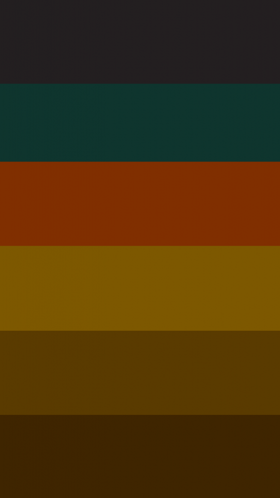 A horizontal striped background with reds, browns, and greens