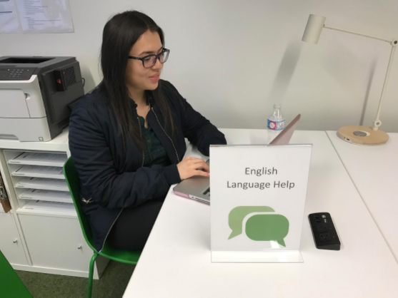 An English Language Support facilitator at a desk