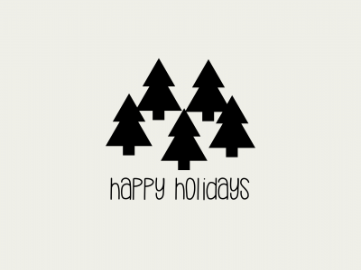 "A cluster of trees with the text ""Happy Holidays"""