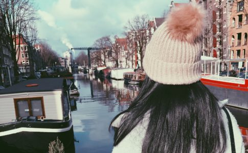Serena overlooks a canal in the Netherlands