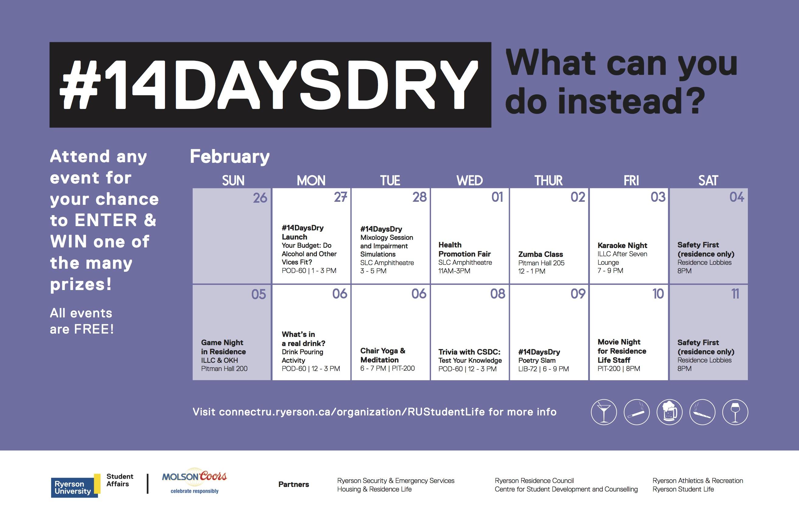 #14DaysDry campaign poster featuring event information
