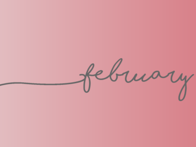"A soft pink gradient background with cursive writing saying ""february"""