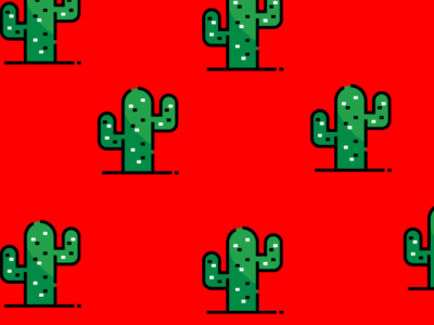 A red background with green cactus icons