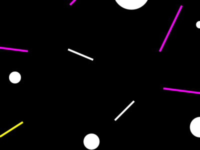 A black background with lines and circles in pink and white