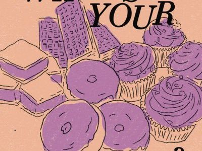 "Illustrations of donuts and cupcakes with the text ""What's Your Pleasure?"""
