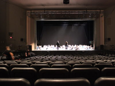 The Ryerson Theatre stage with performers practicing