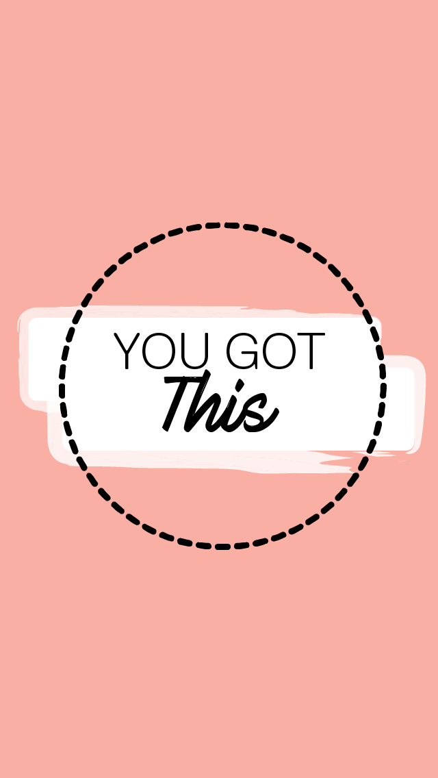 """A pale pink background and a circle of text in the middle that says """"You Got This"""""""