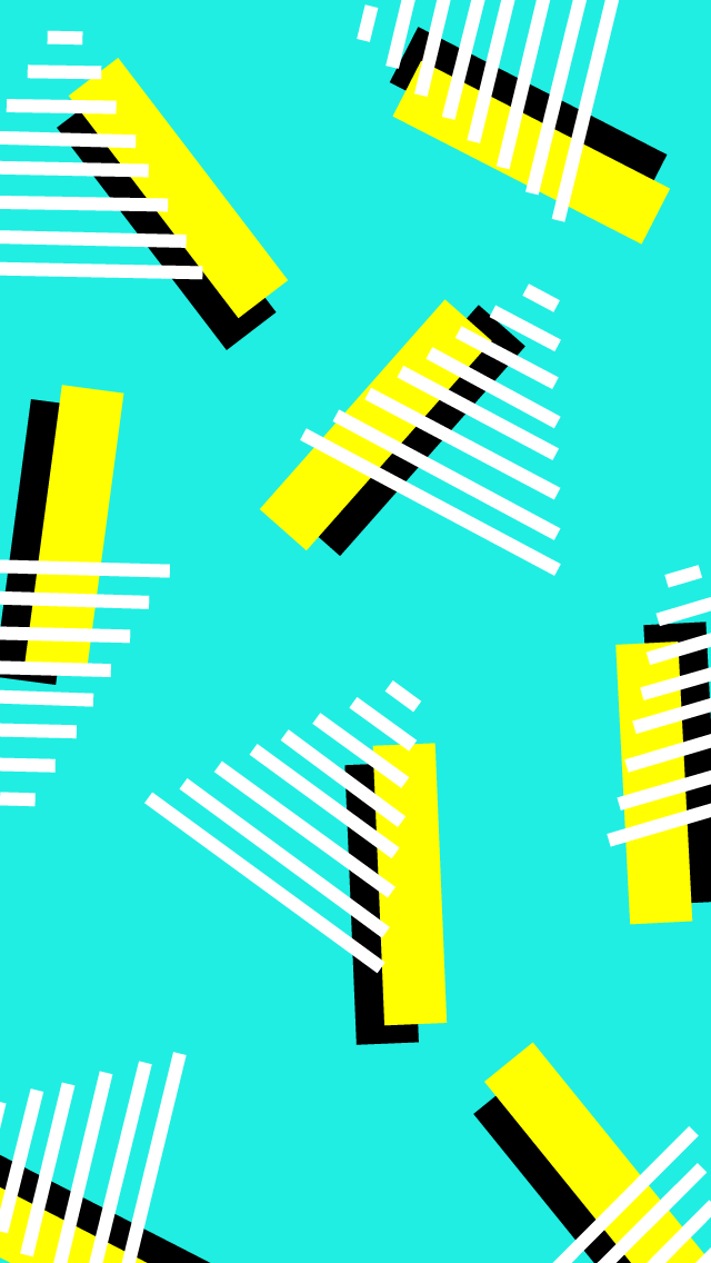 Yellow and black rectangles with white triangles interacting