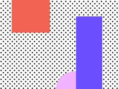 Graphic elements in different colours, squares and circles and triangles on a dotted background