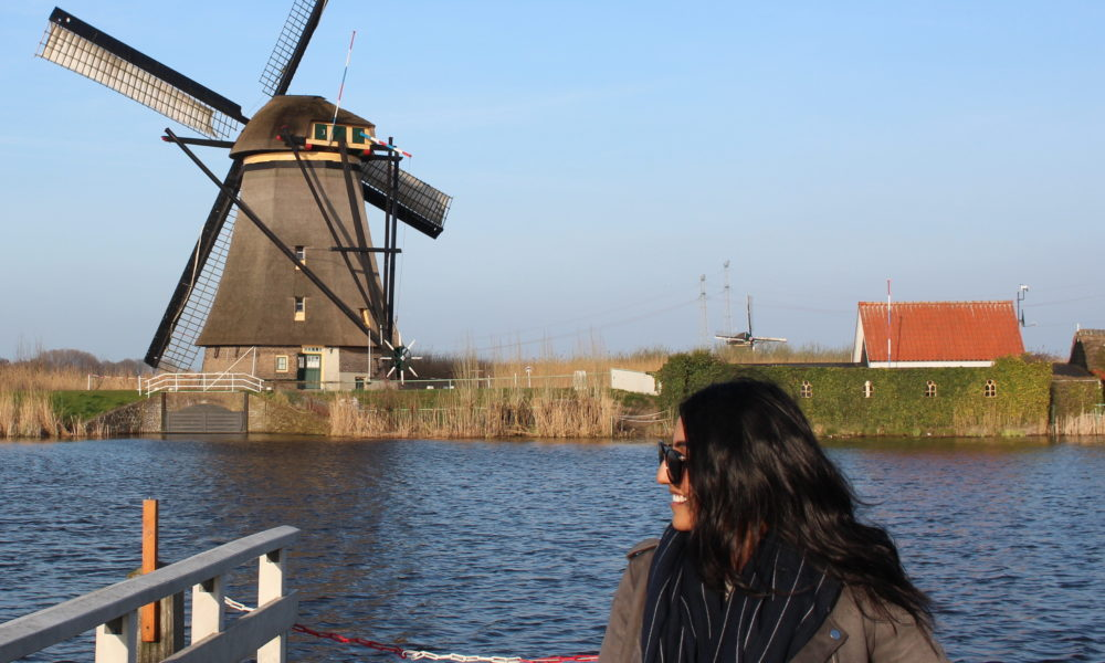 Serena poses in front of the windmills