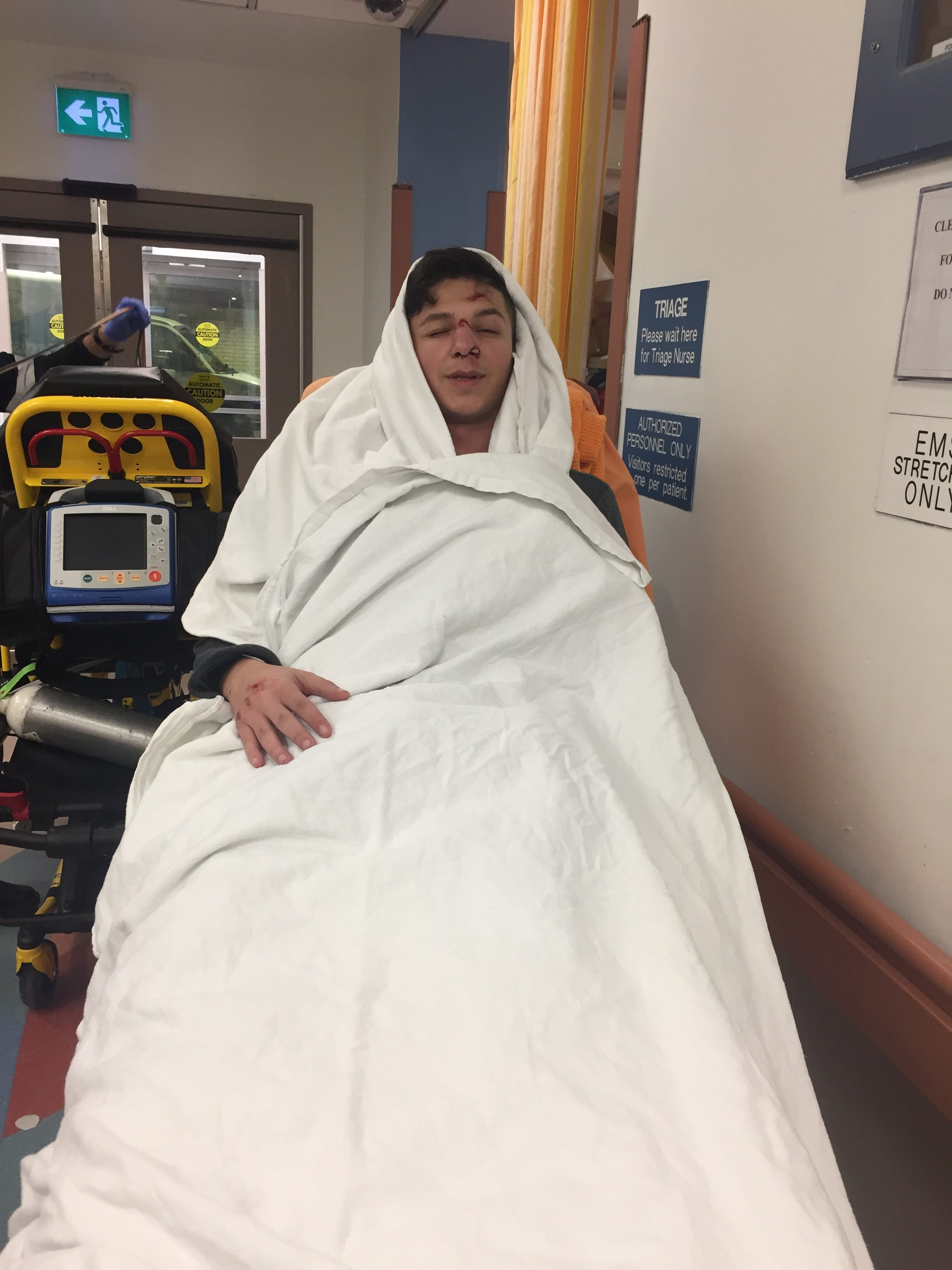 Thomas in the hospital after the accident