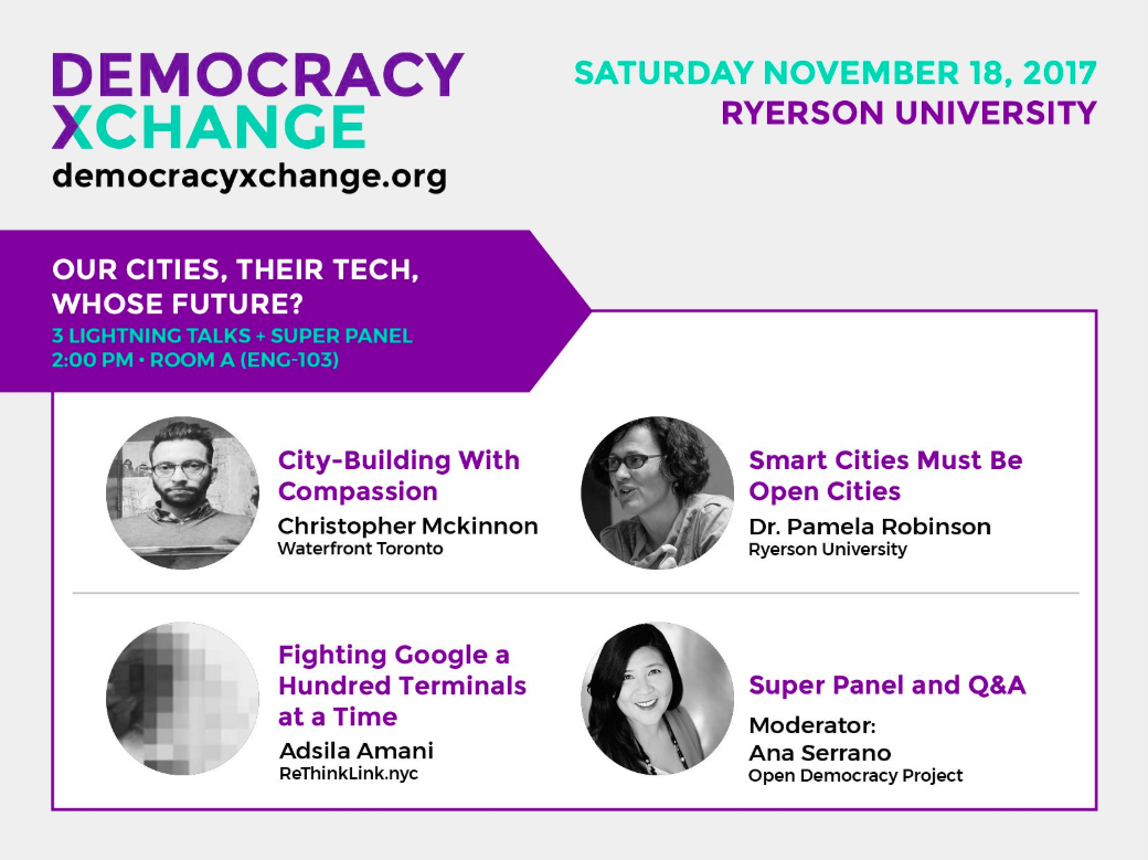 A promotional ad for one of the DemocracyXChange events