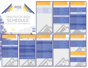 Central Orientation Events Schedule