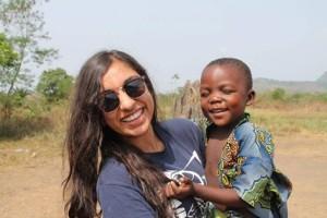 Shreya with child in Honduras
