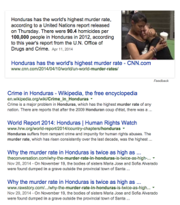 headlines of danger and crime in honduras
