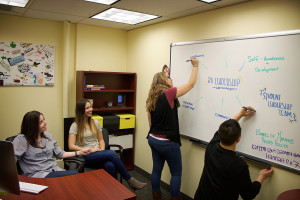 Photo of student leaders in a brainstorm session