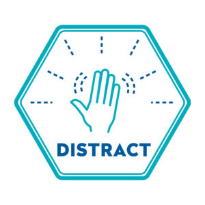 A hexagon with a waving hand inside and the text DISTRACT