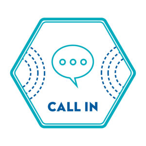 A hexagon with a speech bubble in the centre and the text CALL IN