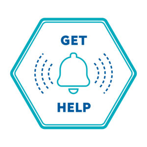 A hexagon with a ringing bell inside and the text GET HELP