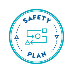A circle with a map inside and the words SAFETY PLAN