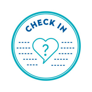 A circle with a heart with a question mark inside it and the text CHECK IN