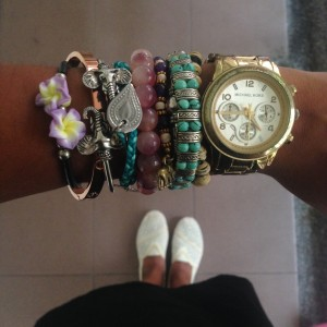 Jasmin's bracelets as souvenirs of her travels
