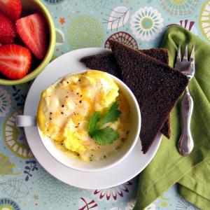 A scrambled egg in a bowl