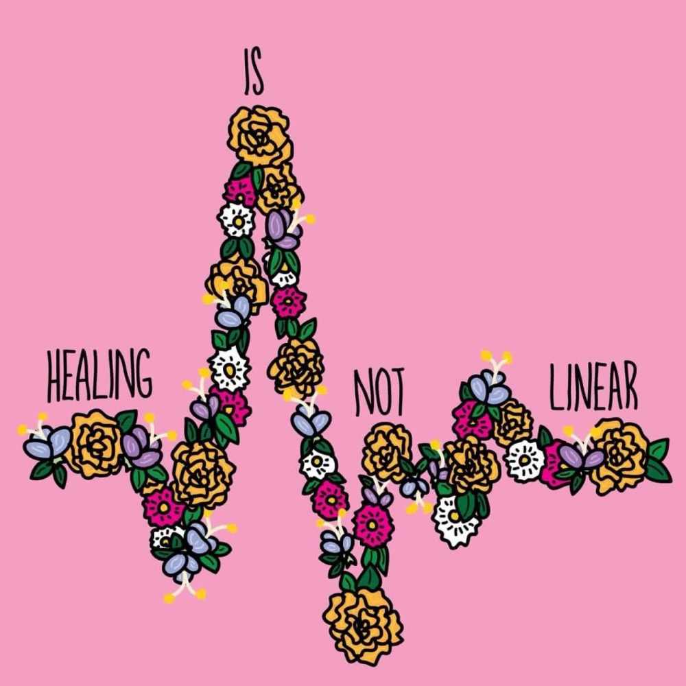 "A drawing of a jagged line of flowers that says ""Healing is not linear"""