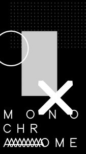 "a black and white design with shapes and the text ""monochrome"""
