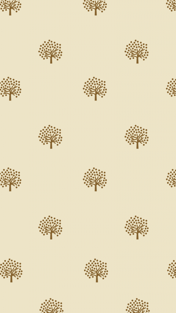 A grey-green background and several repeating small fall tree icons