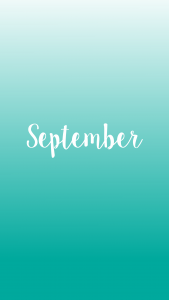 A light green ombre background with September script
