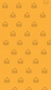 An orange background with hamburger icons repeated throughout