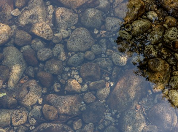 A photo of rocks underwater