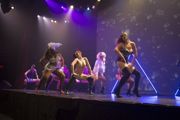 The performers in Red Ruby Burlesque on stage