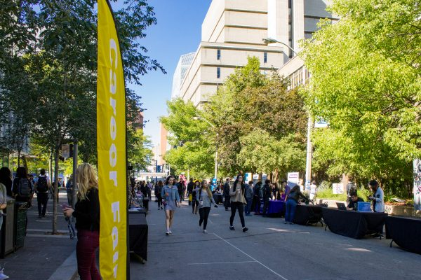 A view of Gould Street with booths and tables setup for the career fair