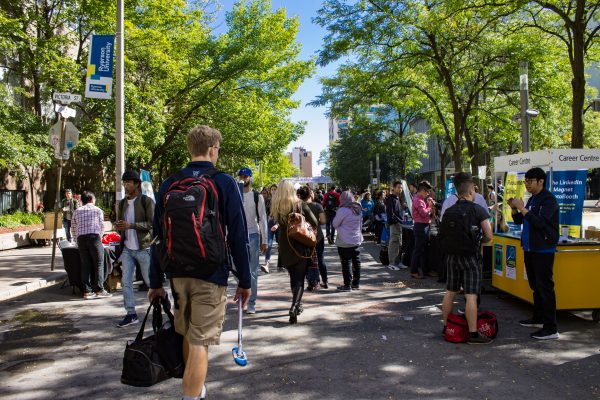 A view of Gould street busy with students attending the career fair