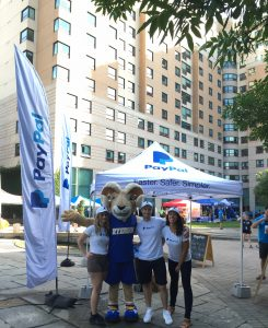 PayPal ambassadors and Eggy hangout on Gould Street during Orientation Week.