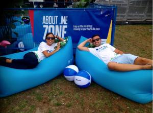 Two Paypal ambassadors enjoying the paypal couches at OWeek